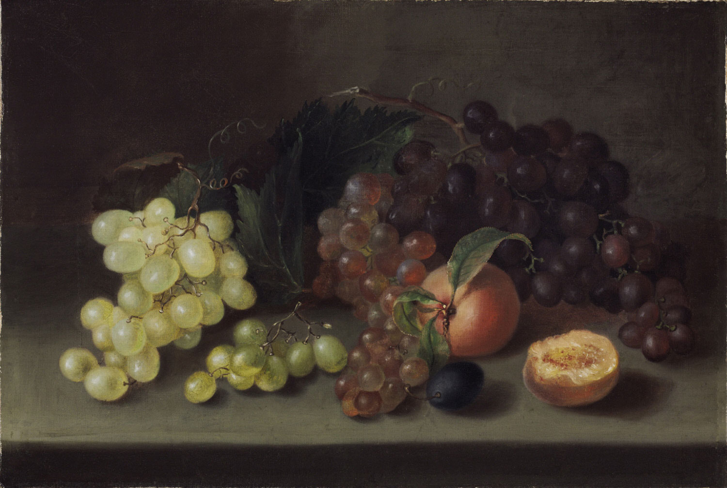 Still life painting of grapes and peaches