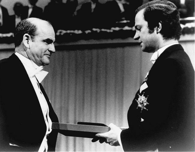 Baruch Blumberg receives the 1976 Nobel Prize in Physiology or Medicine
