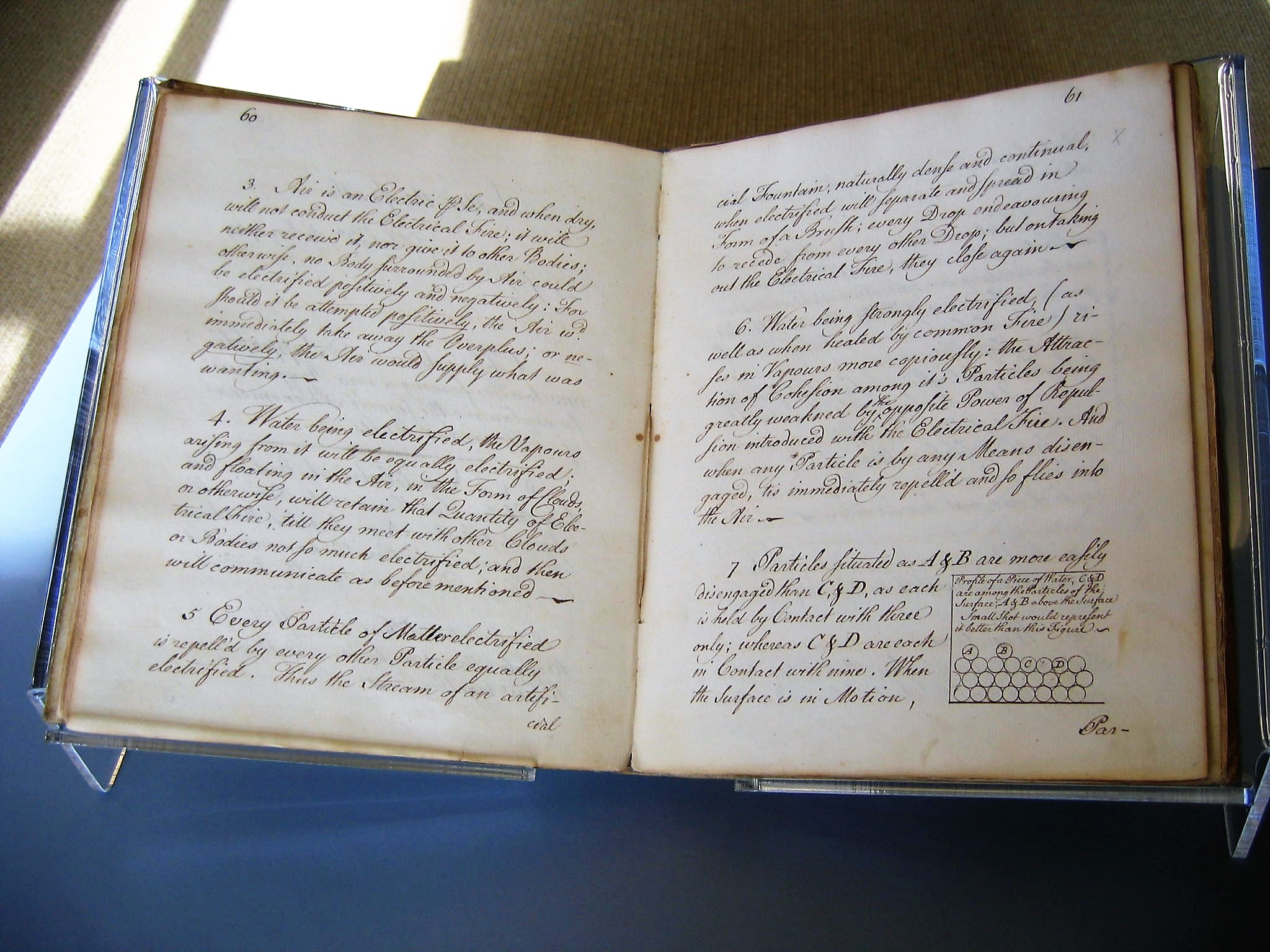 Franklin manuscript on electricity