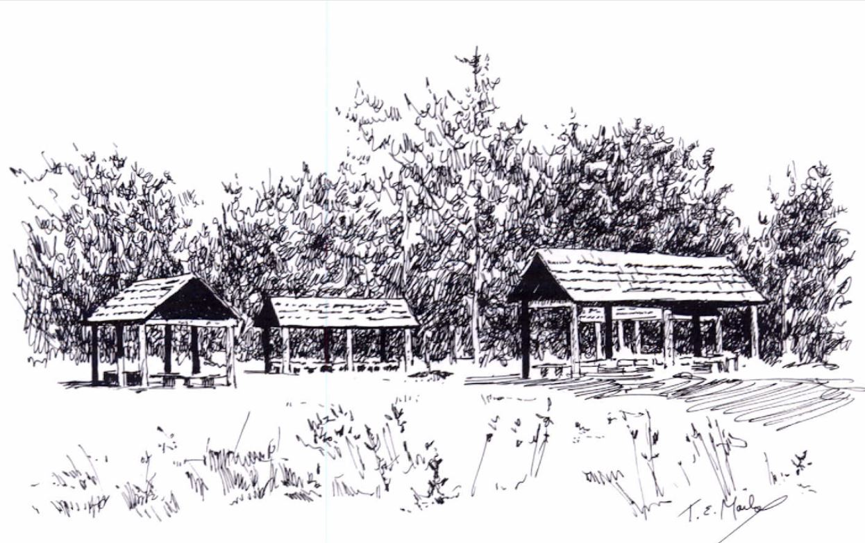 sketch of three shelters in outdoor area