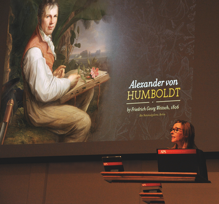 Speaker at a lecture on Humbolt