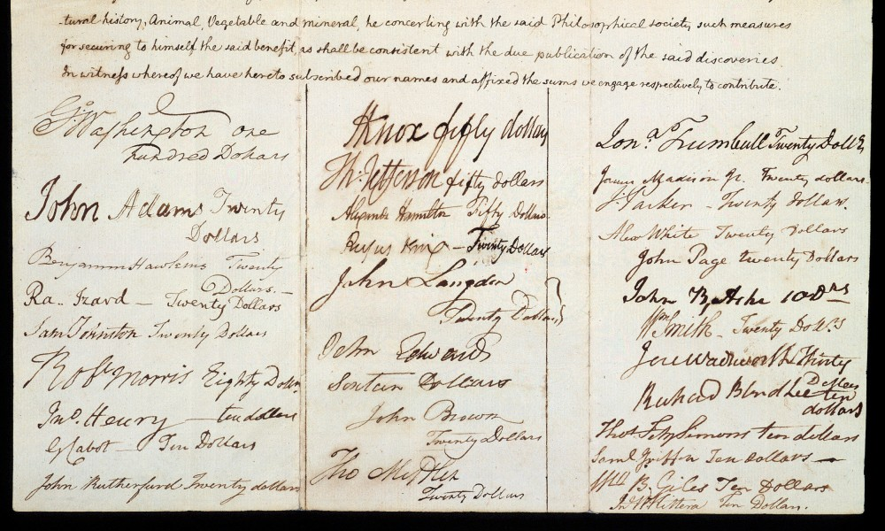 Michaux Subscription list with signatures