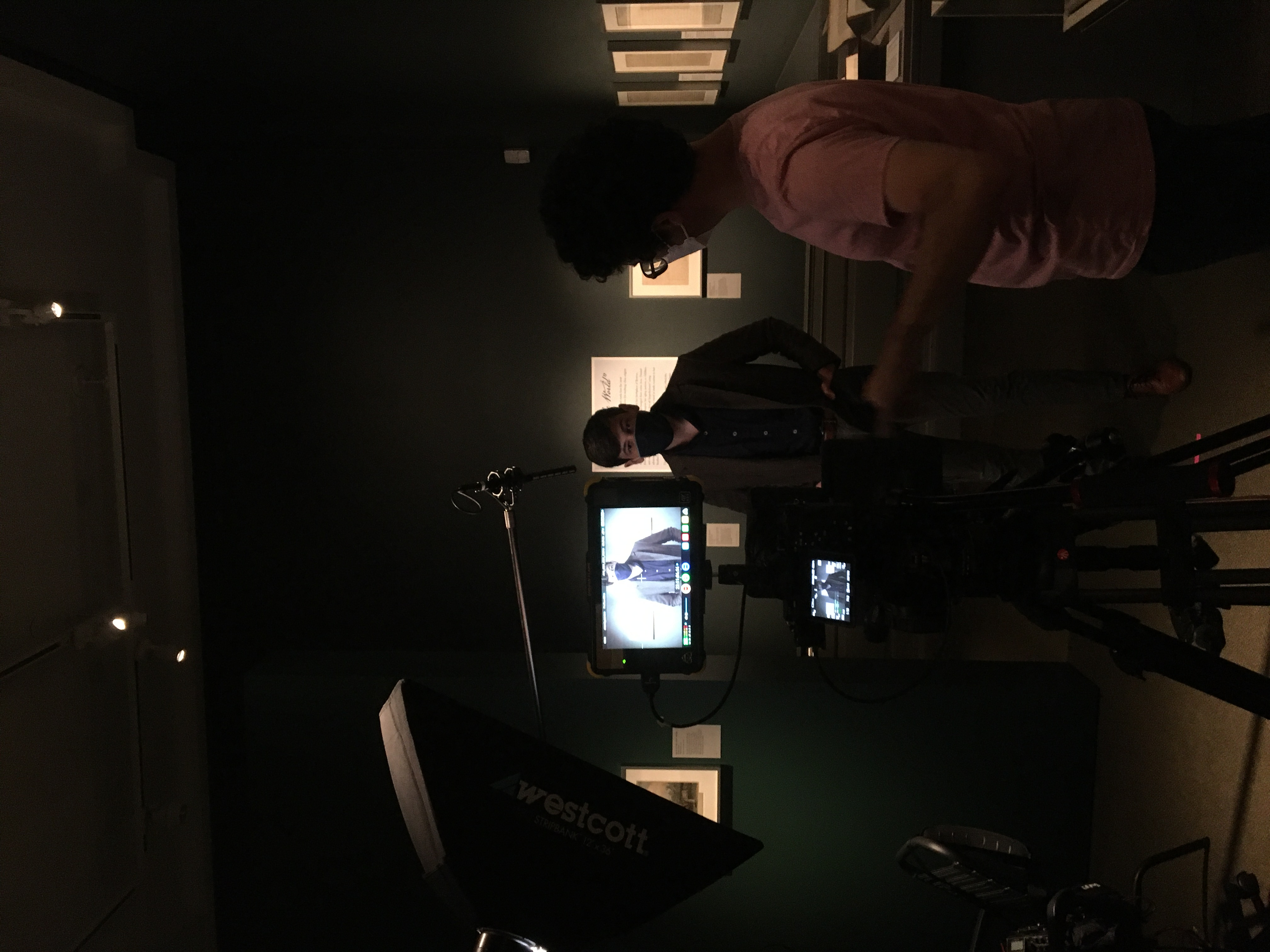 mike in gallery filming