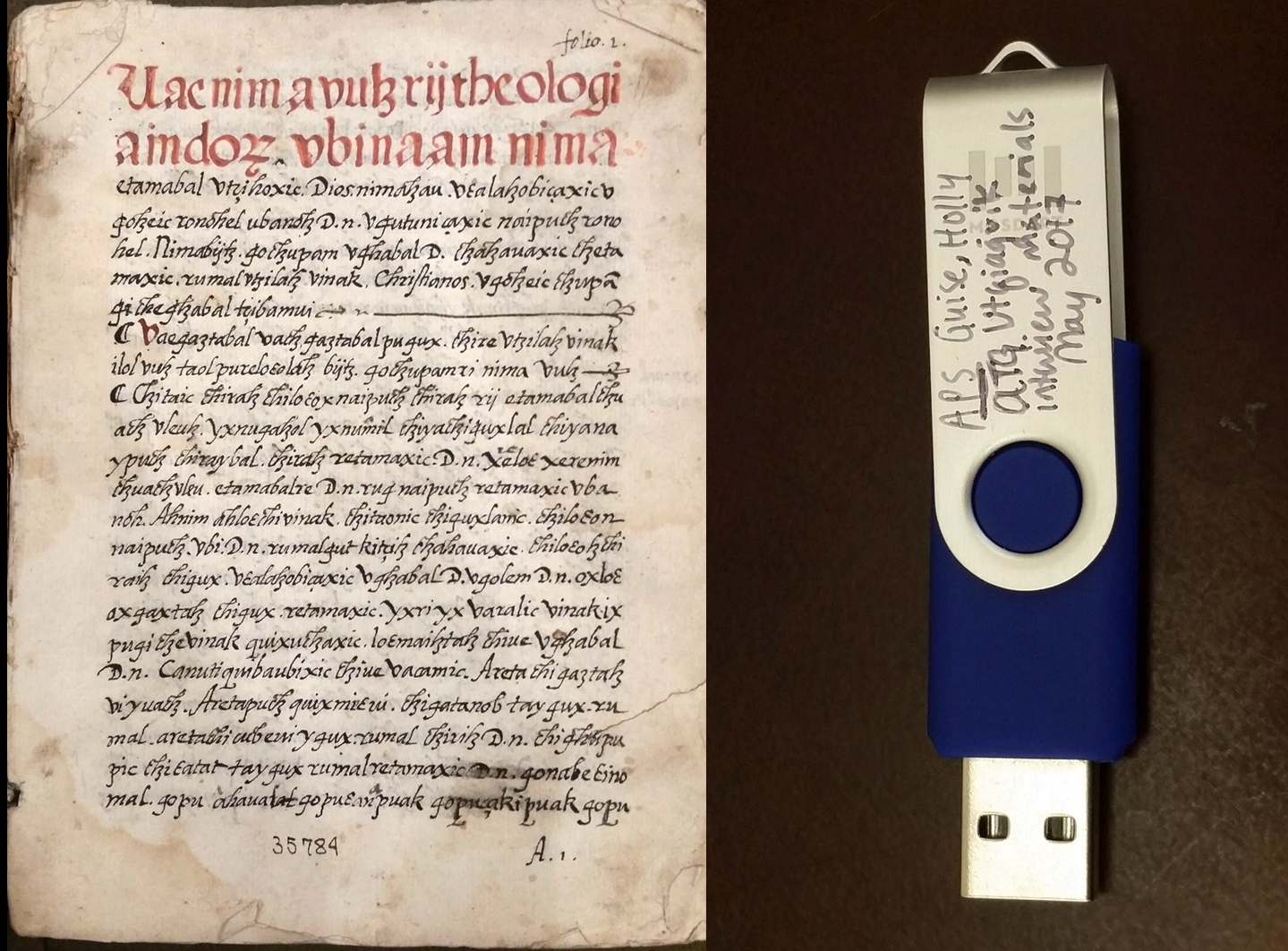 1553 manuscript and USB drive