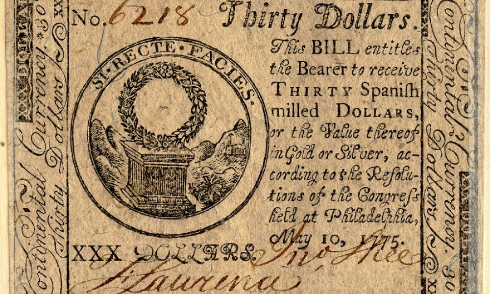 Thirty dollar bill issued by Philadelphia Congress 1775