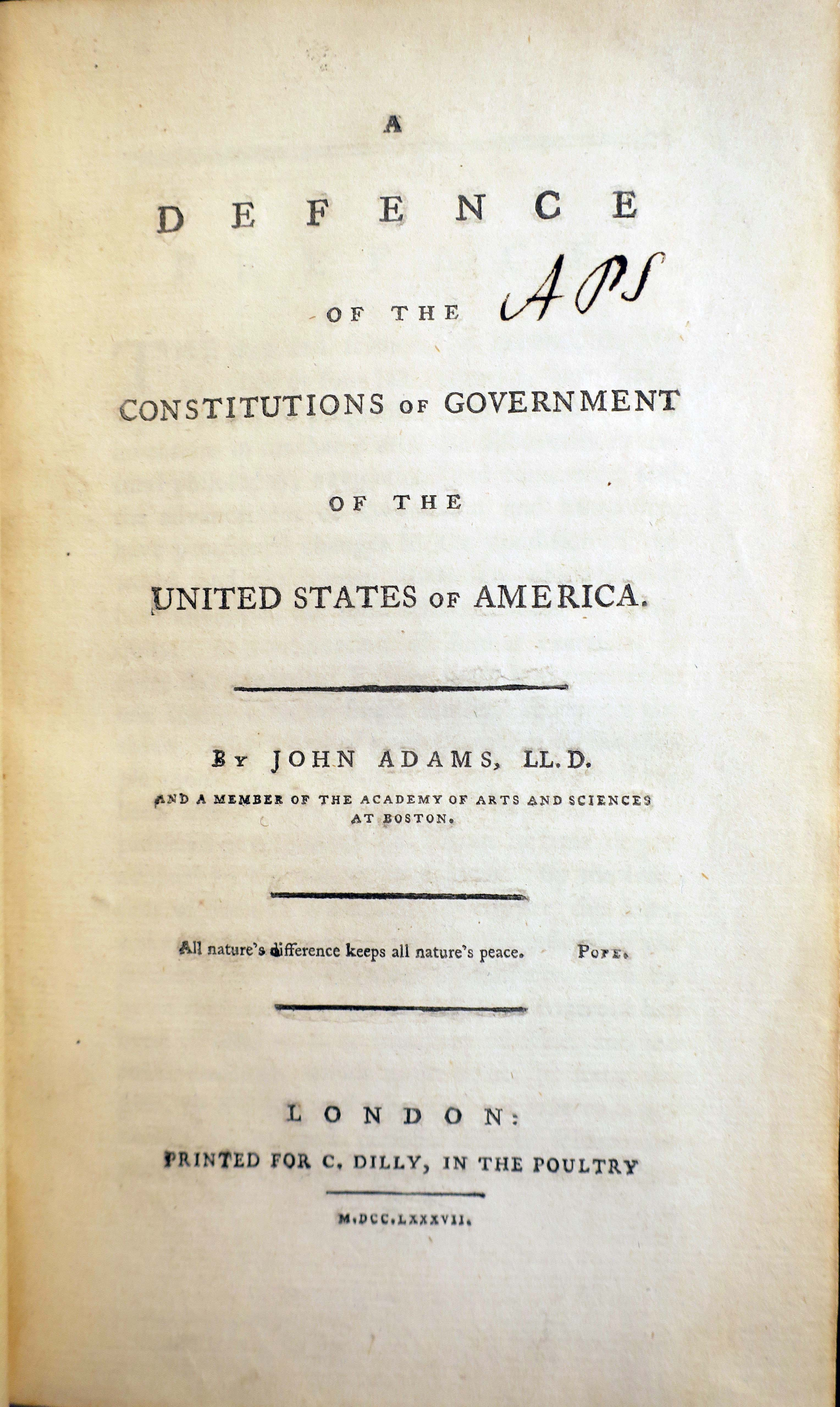 Title page of John Adams book
