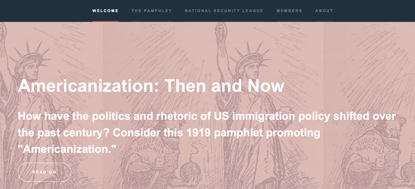 pink banner image with image of statue of liberty and immigrant caricature