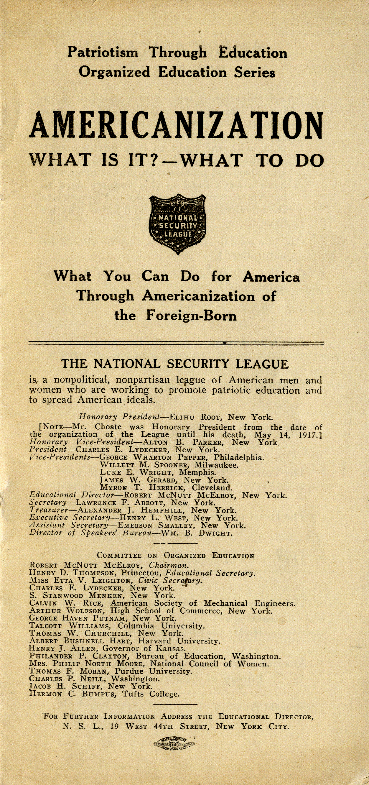cover of pamphlet titled Americanization