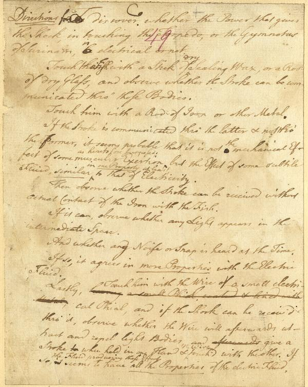handwritten letter by Benjamin Franklin