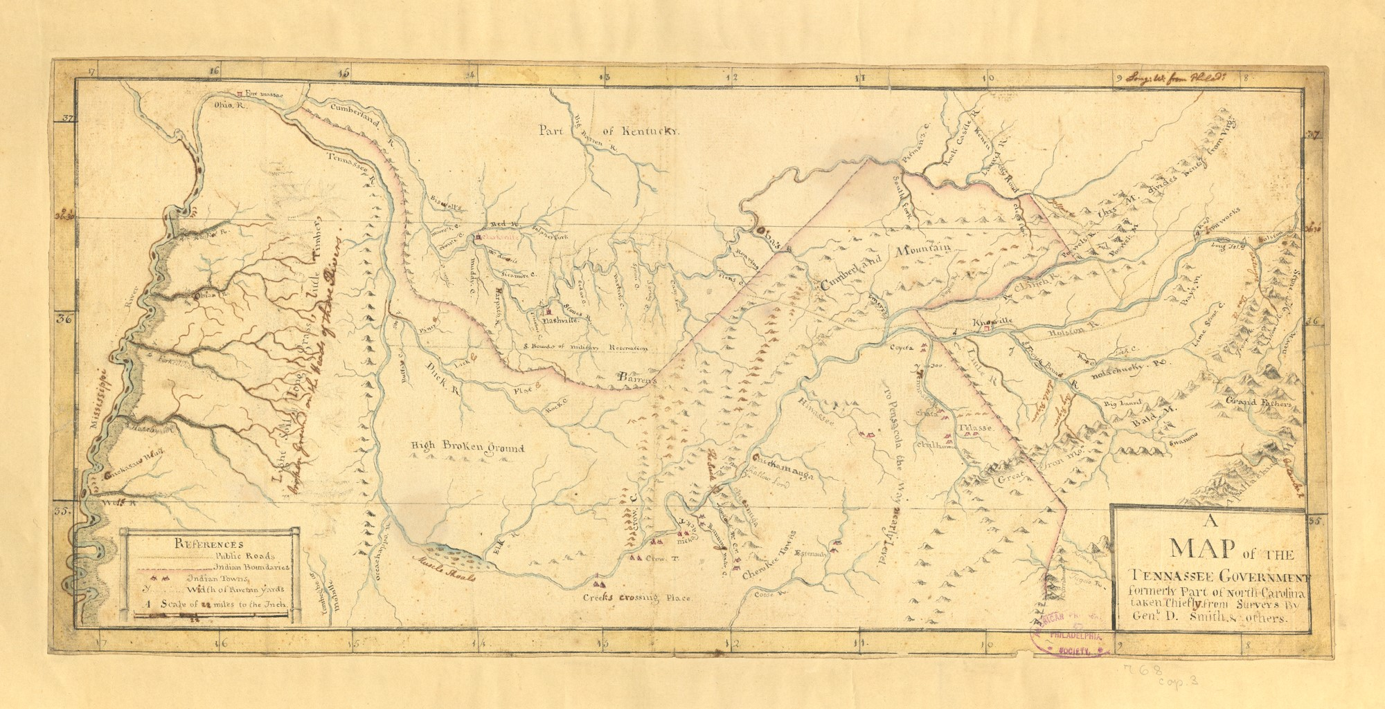 hand colored map of tennessee