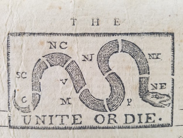 unite or die political cartoon with segmented snake