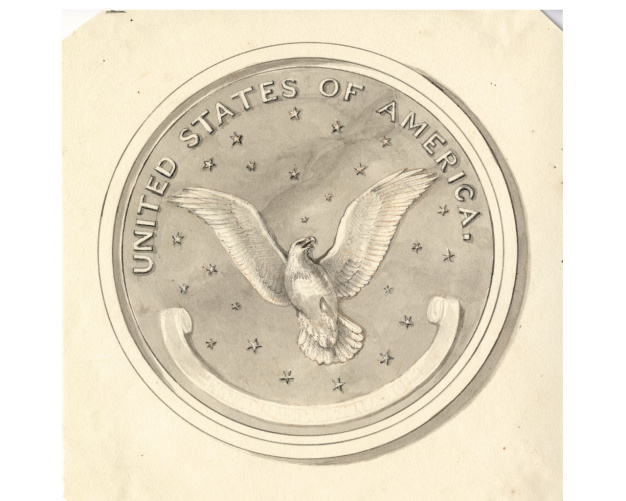 drawing of eagle for coin design
