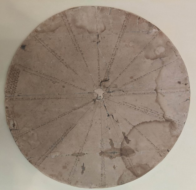 "The ""fortune-wheel"" is a brown cardboard circle divided into sixteen wedges"