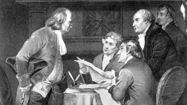 five men gathered for drafting declaration of independence