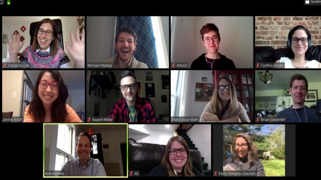 photo of staff on Zoom conference call