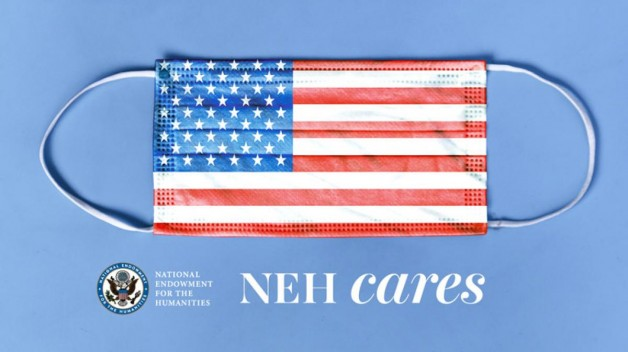 NEH cares logo of face mask with american flag