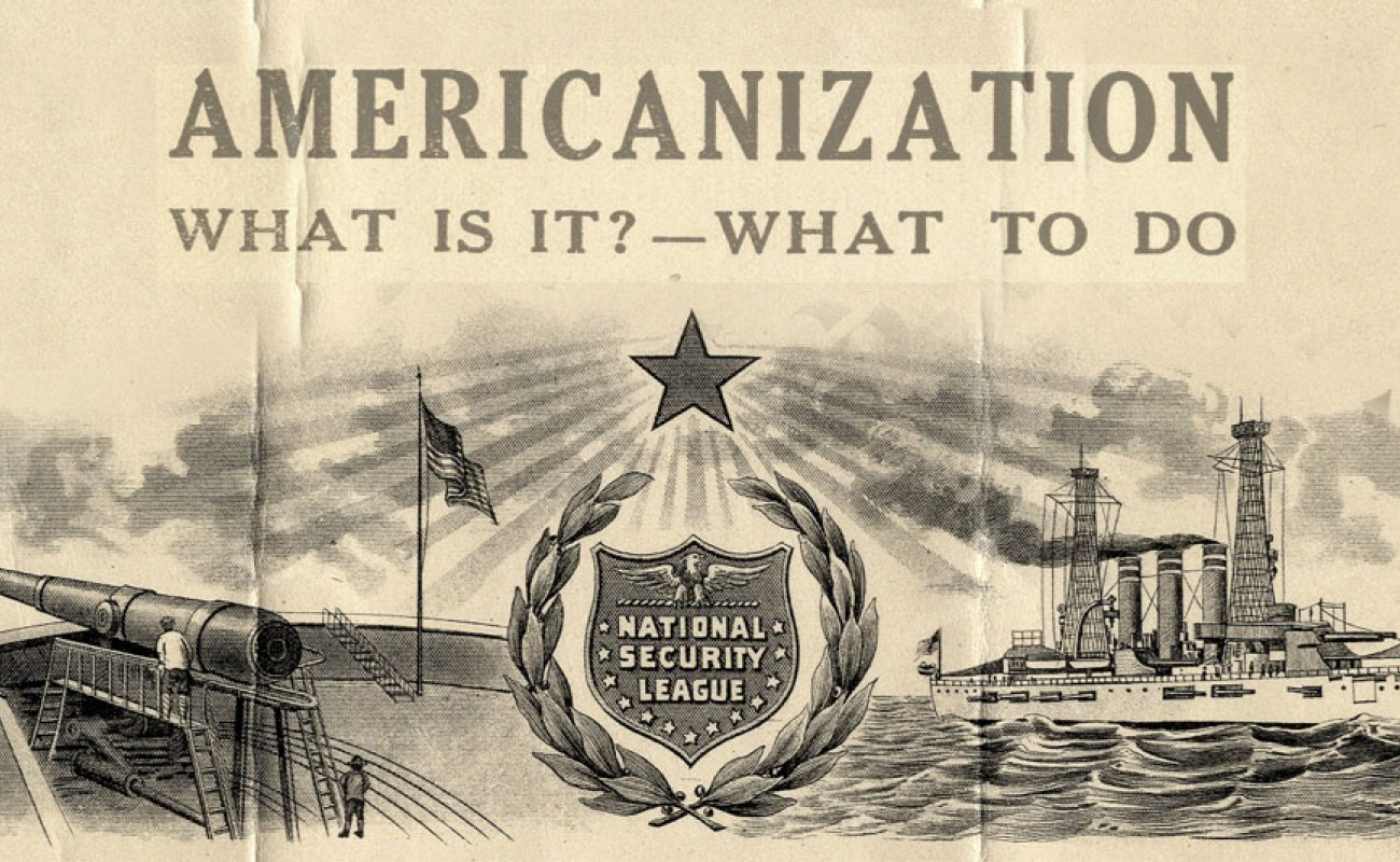 Image of a ship with a cannon and an American flag. Text read Americanization, what is it, what to do?