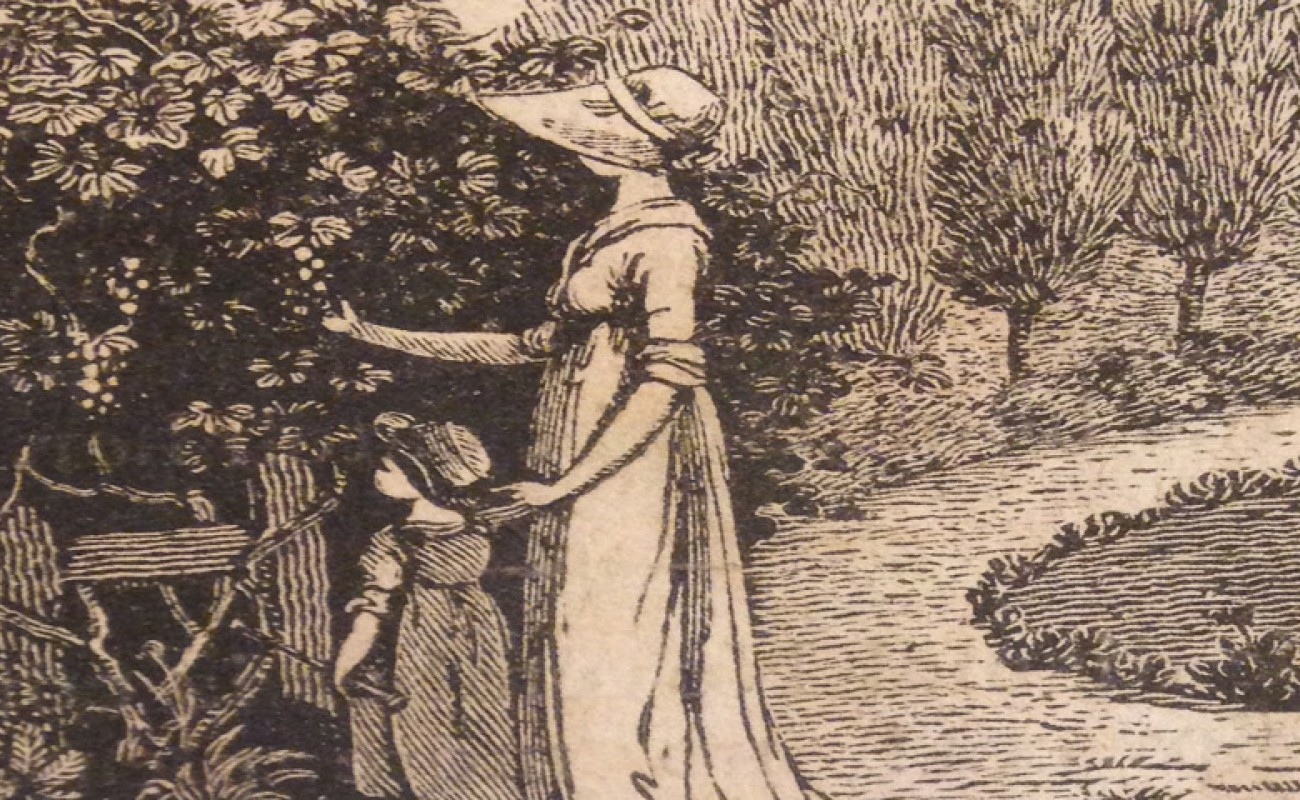 Image of woman in a long dress showing a child the detail of a large, flowered bush.