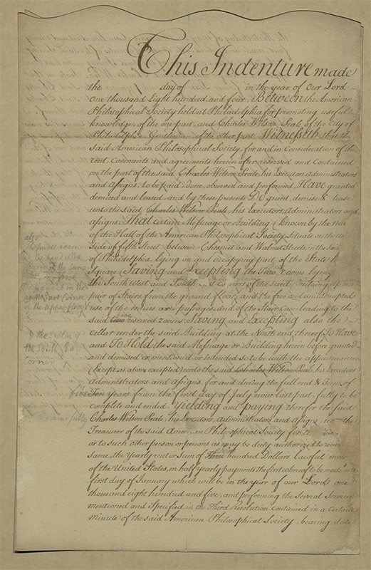 Lease from the American Philosophical Society for Peale's Museum