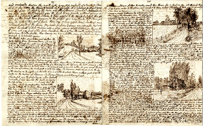 An illustrated letter written to Rembrandt Peale