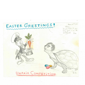 Cartoon of two men dressed as a rabbit and turtle