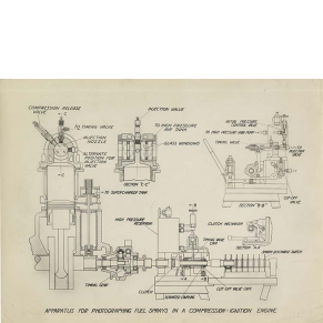 Schematic of an Apparatus for Photographing Fuel Sprays in a Compression-Ignition Engine