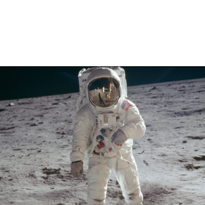 Buzz Aldrin walking on the moon.