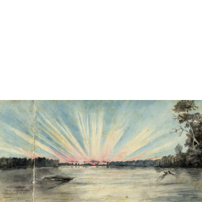 """Sunset on the Missouri 370 miles above its mouth,"" Titian Ramsay Peale, July 28, 1819"