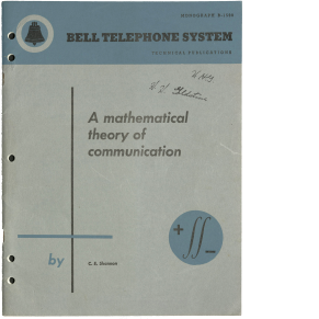 A Mathematical Theory of Communication (first edition)