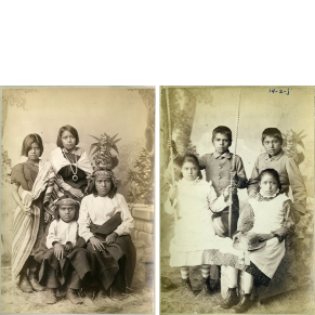 Before and After Photographs of A:shiwi (Zuni) Children