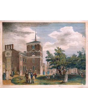 engraved image with added color showing a large brick building (Independence Hall) and green space with trees where people are walking