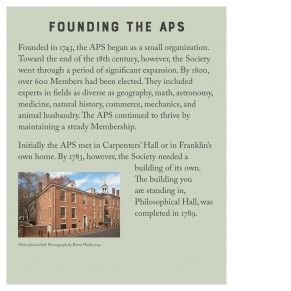 panel describing the founding of the American Philosophical Society with a 2015 photography of Philosophical Hall