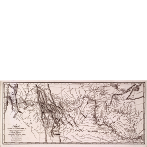 engraved and printed map showing the route of the Lewis and Clark Expedition