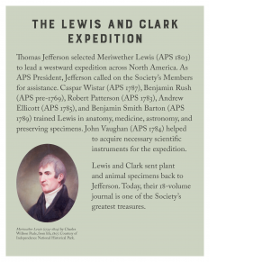panel describing section with portrait of a man (Meriwether Lewis)