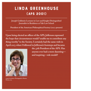red panel with white text and photo of a woman (Linda Greenhouse) wearing glasses