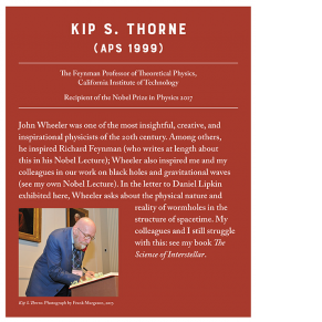 white text on red background with color photograph of a man (Kip Thorne) signing the APS roll book
