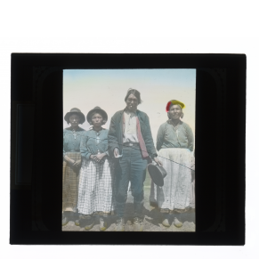 Hand-colored glass lantern slide portrait of an Innu family.