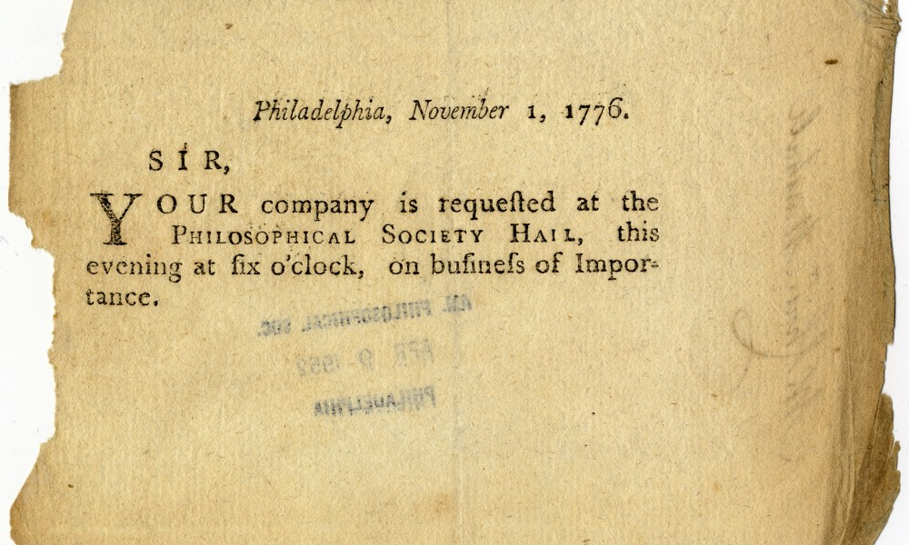 Invitation to APS meeting from 1776