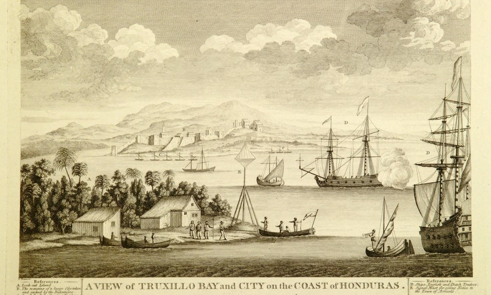 Engraving of bay and tall ships