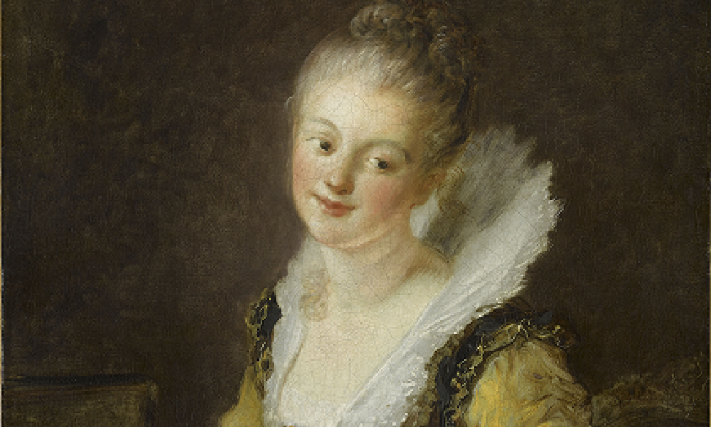 portrait of 18th century woman with open book