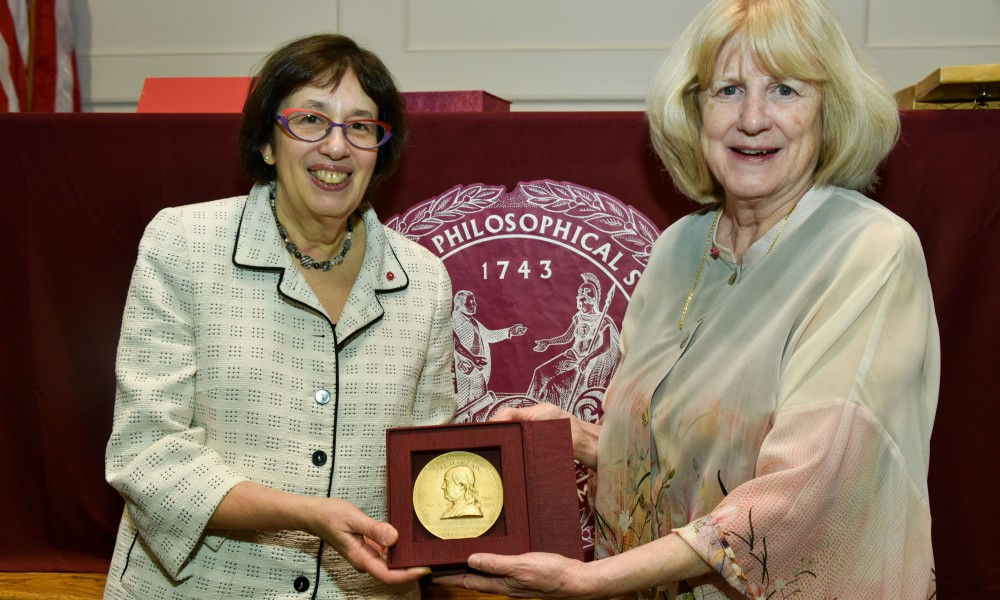 Mary-Claire King and Linda Greenhouse hold Franklin Medal