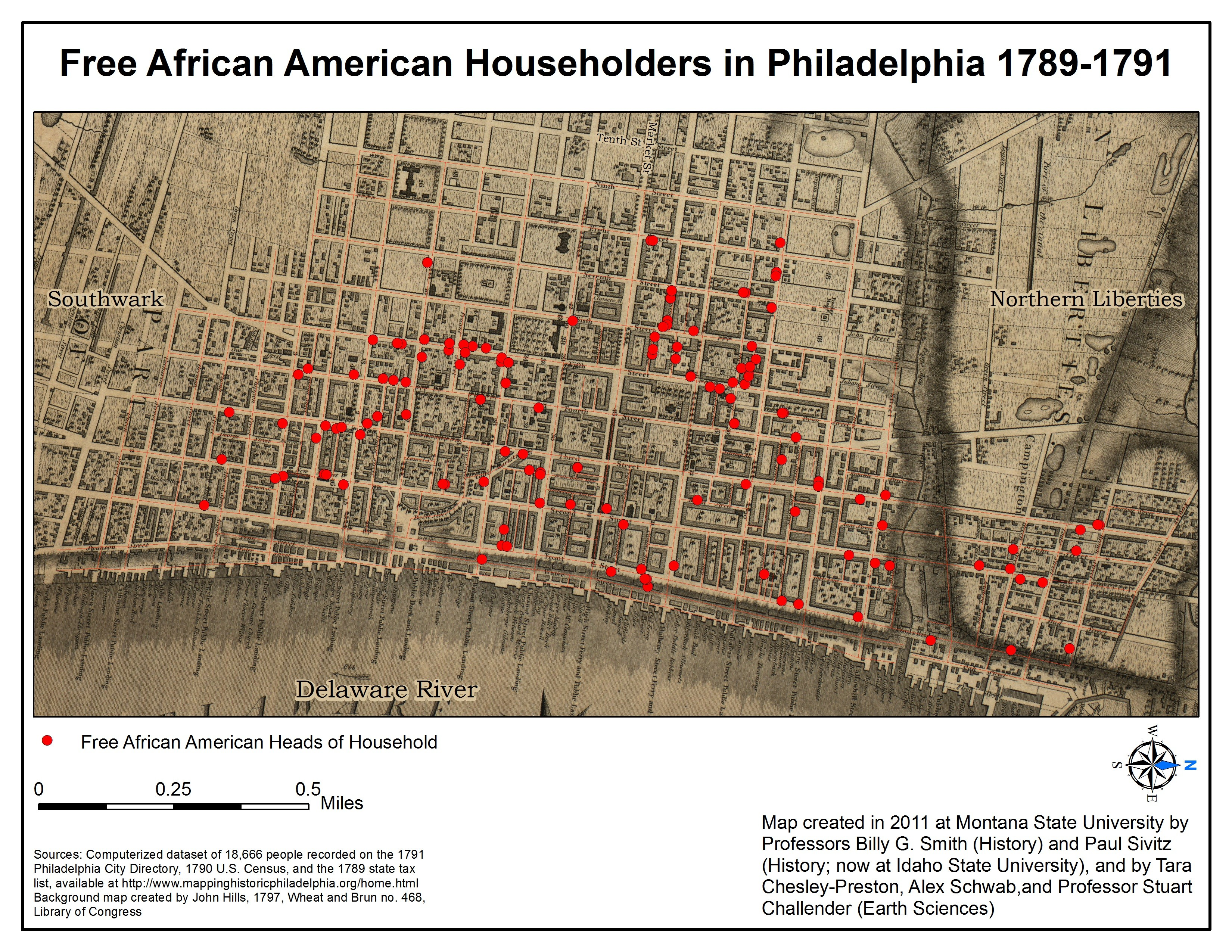 18th century map of Philadelphia with red dots