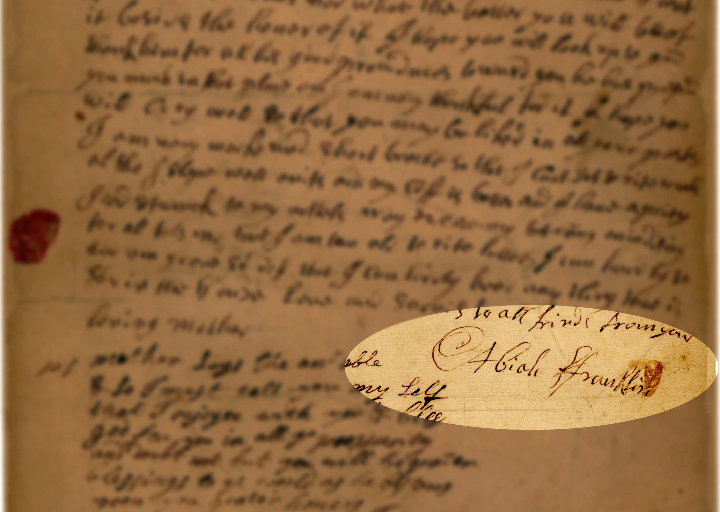 letter with signature of Abiah Franklin
