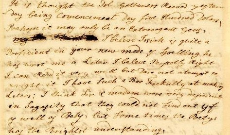 Cropped image of a Jane Mecom Letter