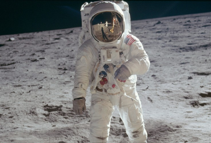 Pilot Buzz Aldrin walking on the moon.