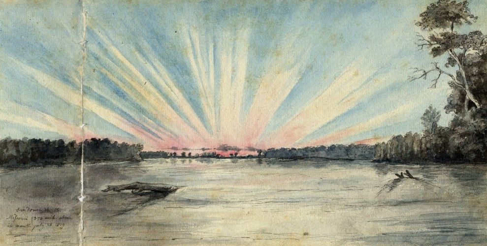 """Sunset on the Missouri 370 miles above its mouth"" Titian Ramsay Peale July 28, 1819"