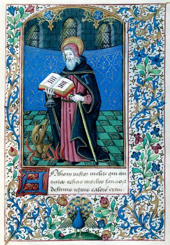 Saint Anthony Abbot, Detmar Basse Müller Book of Hours, circa 1475
