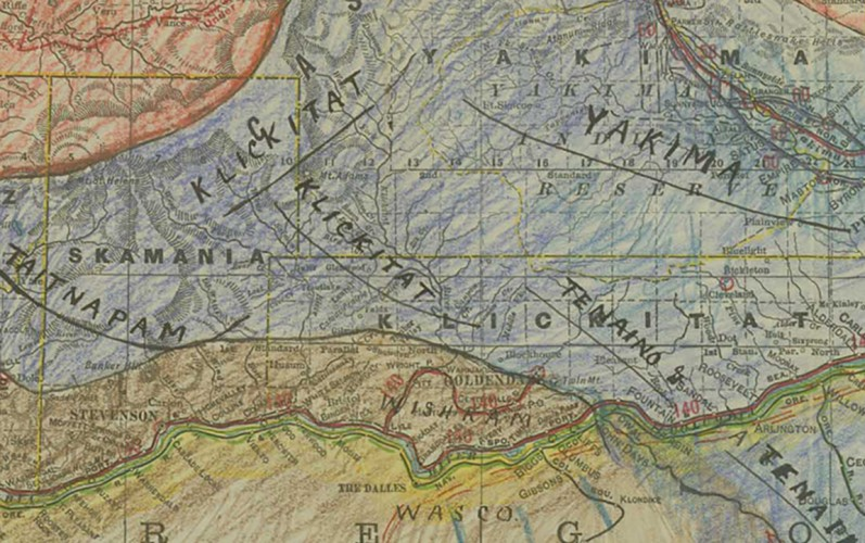 Map of Washington State tribes' distribution circa 1797 detail 2