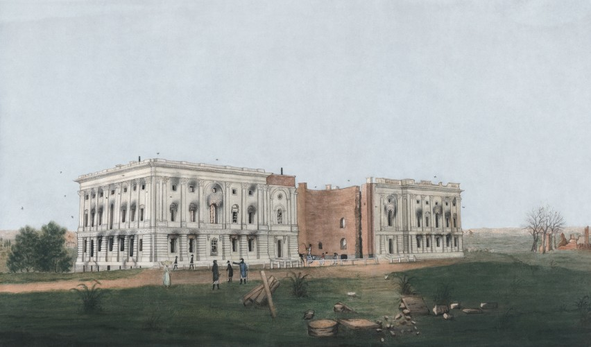 U.S. Capitol after Burning by the British, George Munger (1781–1825), 1814, United States Library of Congress's Prints and Photographs division