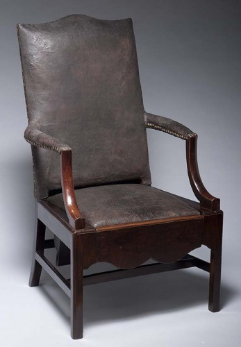 leather and mahogany armchair